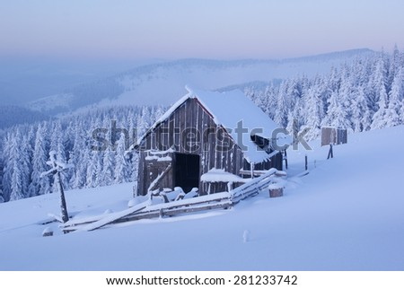 sheepfold in the mountains in winter
