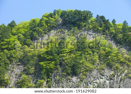 Sheer cliff of Nara village Soni of the fresh green
