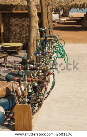 sheesha on the beach - stock photo