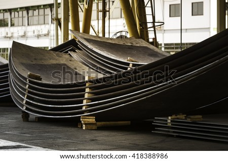 sheet metal in production work shop - stock photo