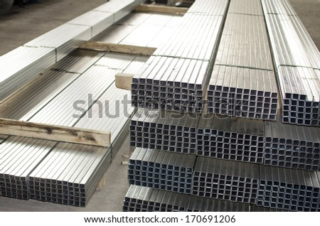 sheet metal profiles in production hall  - stock photo