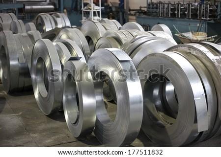 sheet metal rolls - stock photo