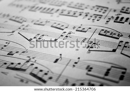 Sheet Music Background Musical Notes  with selective focus - stock photo