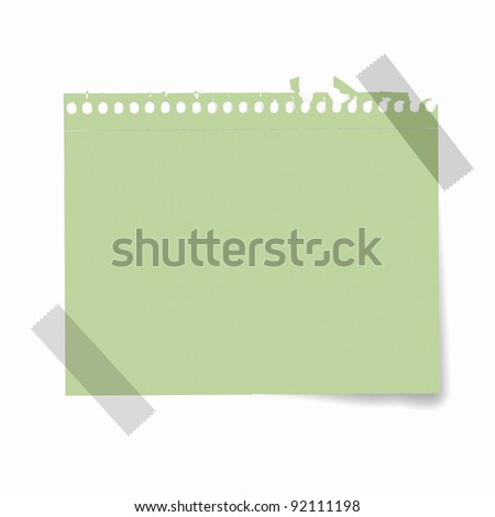 Sheet of blank paper for notes against white background - stock photo