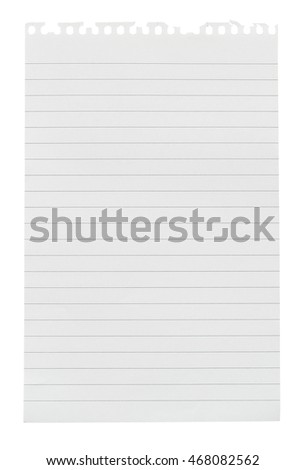 Sheet of lined note paper torn from a note pad isolated against a white background