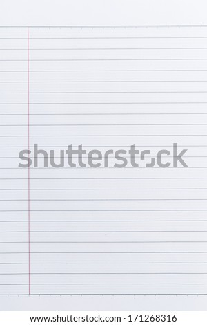 Sheet of lined paper or notebook paper texture with left margin