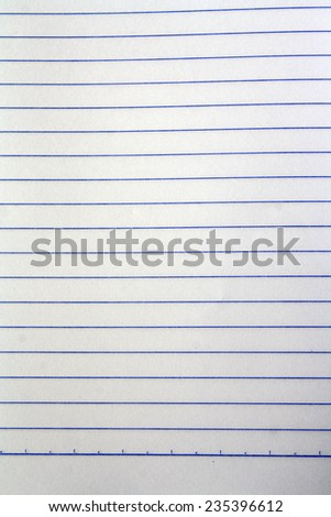 Sheet of looseleaf paper,detailed lined paper texture, isolated, school exercise book - stock photo