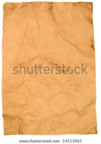 Sheet of old paper (isolated on white)