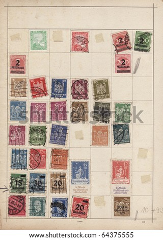 Sheet of old stamps