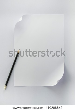 sheet of paper and pencil isolated on white - stock photo
