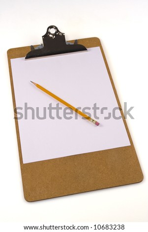 Sheet of paper clipped on a clipboard with a pencil on white background