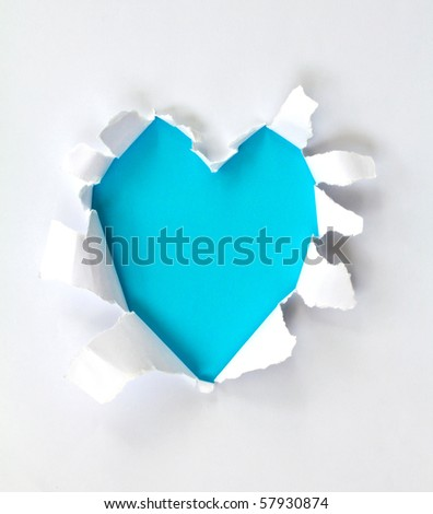 Sheet of paper with a Heart shape hole against bright blue background isolated on white