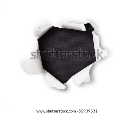 Sheet of paper with a hole against black background isolated on white