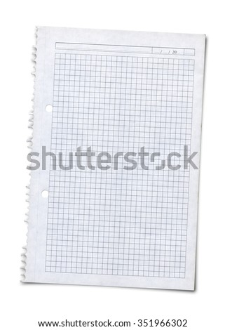 sheet of squared paper with shadow over white background - stock photo