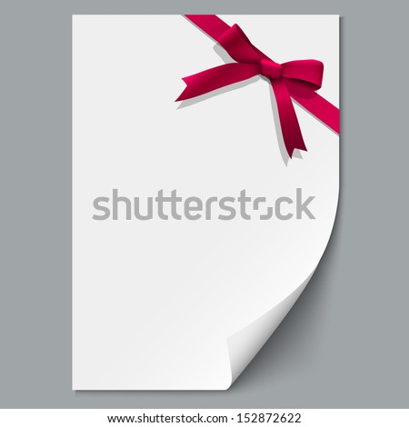 Sheet paper and red ribbon with gift bow.Raster version