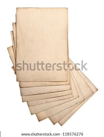 sheets of old grungy paper isolated on white background - stock photo