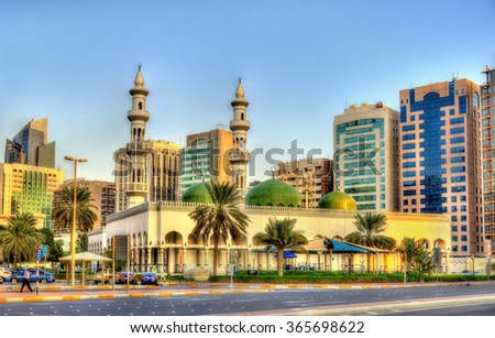 Sheikh Khalifa Bin Zayed the First Mosque in Abu Dhabi - stock photo