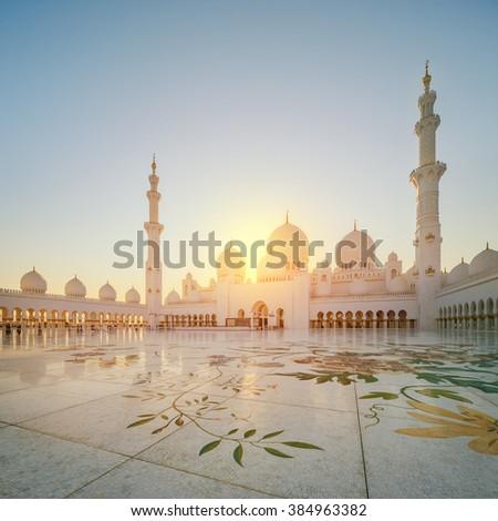 Sheikh Zayed Grand Mosque at dusk, Abu-Dhabi, UAE - stock photo