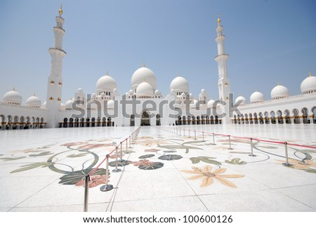 Sheikh Zayed Grand Mosque in Abu Dhabi (UAE) - stock photo