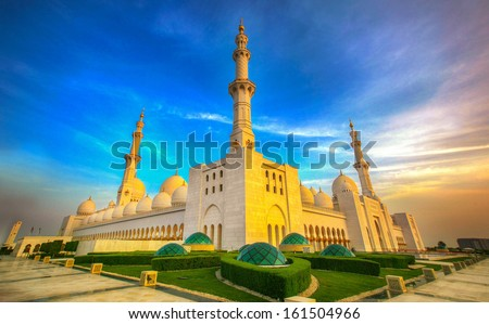 sheikh zayed mosque, abu dhabi, uae, middle east(HDR) - stock photo