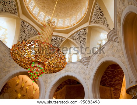 Sheikh Zayed mosque in Abu Dhabi inside - stock photo
