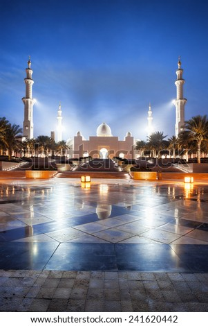 Sheikh Zayed mosque in Abu Dhabi, United Arab Emirates, Middle East - stock photo