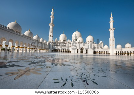 Sheikh Zayed Mosque in Middle East United Arab Emirates. Abu Dhabi