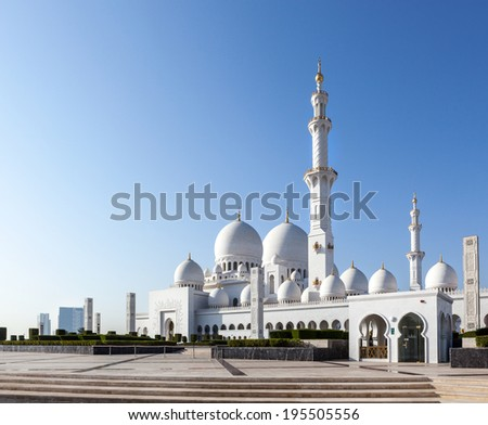 Sheikh Zayed mosque is on the grand mosque in Abu Dhabi, United Arab Emirates. - stock photo
