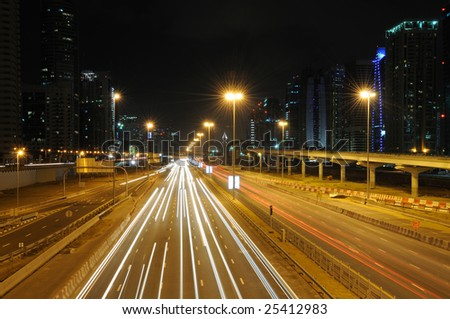 Sheikh Zayed Road in Dubai at night