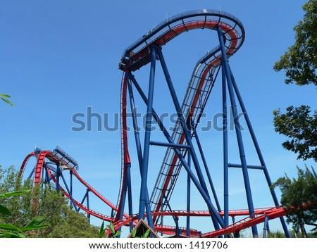 Sheikra Roller Coaster in Busch Gardens, Tampa Bay - stock photo