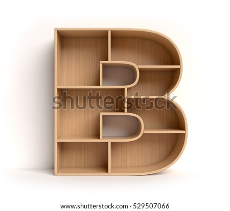 shelf font 3d rendering letter B