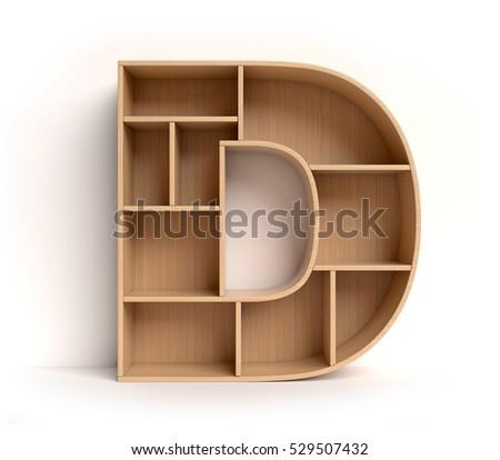 Shelf Font 3d Rendering Letter D