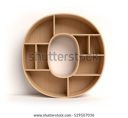 shelf font 3d rendering letter O