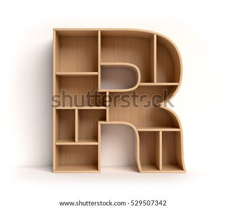 shelf font 3d rendering letter R