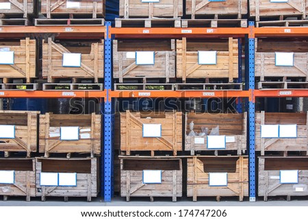 shelf for wooden case in warehouse - stock photo