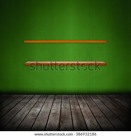 shelf in room interior with green wallpaper background