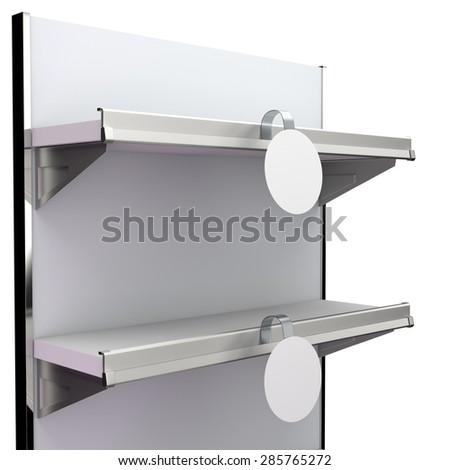 shelf with blank round wobbler - stock photo