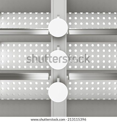 shelf with blank wobblers from front view - stock photo