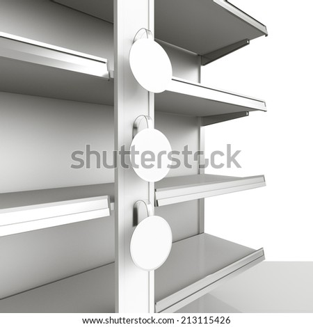 shelf with blank wobblers in perspective - stock photo