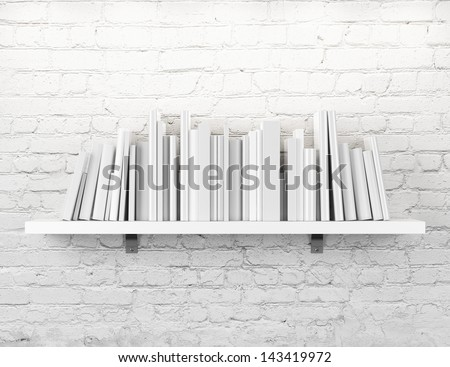 shelf with books  - stock photo