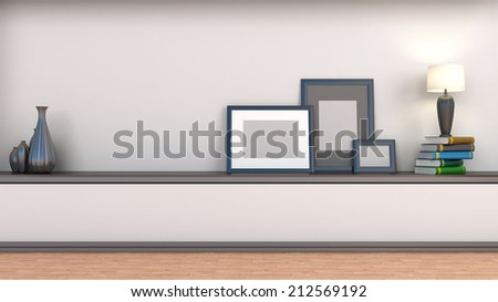 shelf with books and lamp - stock photo