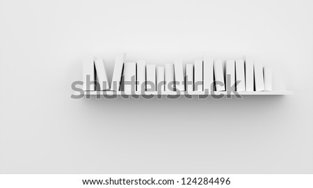 Shelf with books on the wall - stock photo