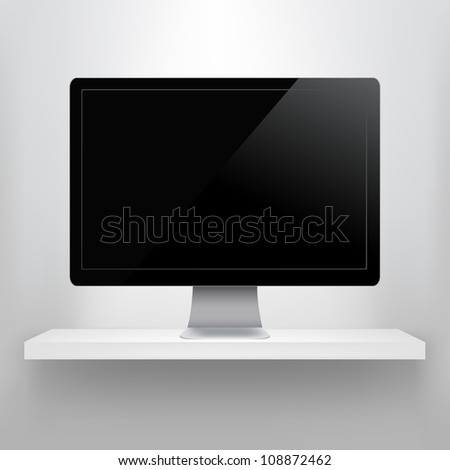 Shelf With Computer, Isolated On Grey Background - stock photo
