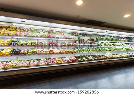 Shelf with fruits in supermarket