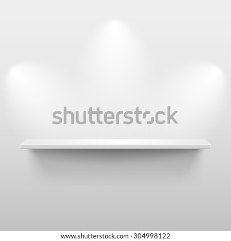 Shelf with light and shadow in empty white room - stock photo