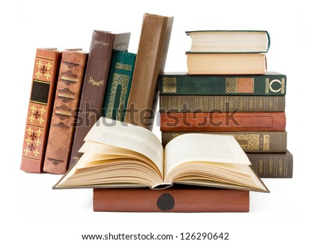 Shelf with old antique book isolated on white background - stock photo