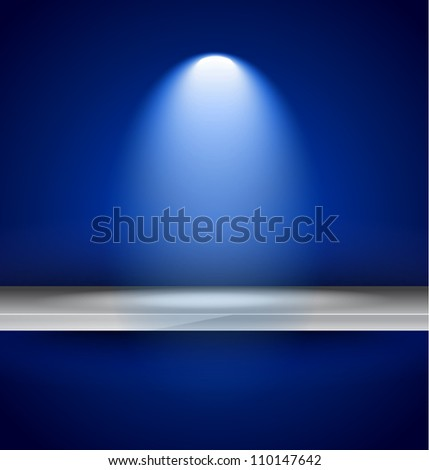 Shelf with spotlights to use for products advertisement and featured placements. - stock photo