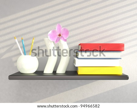 Shelf with vases and books on grey wall. 3D render - stock photo
