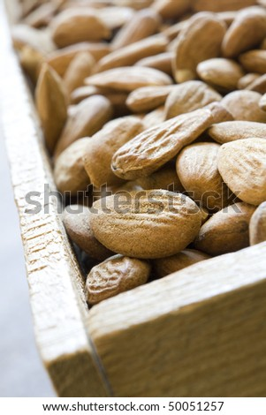 Shelled Almonds Displayed In Wooden Box