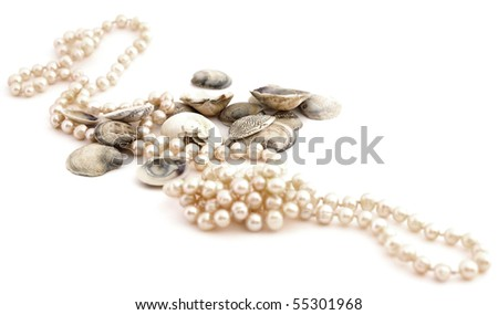 shells and pearls isolated against white background - stock photo